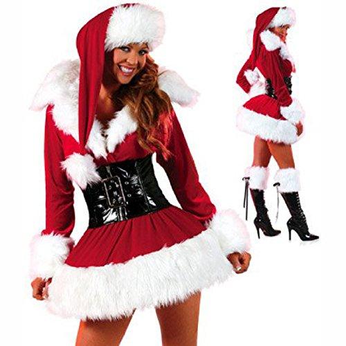 SHRJJ 2017 Neu Erwachsene Weiblich Weihnachten Auswahl Santa Claus Kostüm Rot Weiß Plüsch Weihnachten Xmas Kleid Bühnenanzug Gürtel Anzug Cosplay Kostüm,Red-OneSize (Weibliche Santa Claus Kostüme)