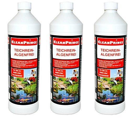 3 x 1 Liter = 3 Liter CleanPrince Teichrein Algenfrei 1000 ml Algenvernichtung Blaualgen Braunalgen Teichreiniger Algenreinigung Teich Reiniger Teichklar Algenentferner