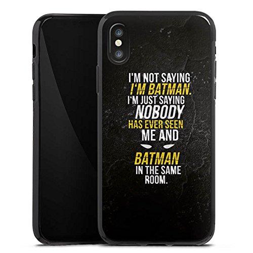 Apple iPhone 8 Tasche Hülle Flip Case Sprüche Batman Statement Silikon Case schwarz