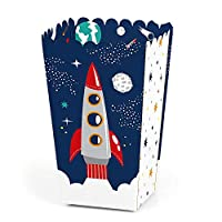 Blast Off to Outer Space - Rocket Ship Baby Shower or Birthday Party Favor Popcorn Treat Boxes - Set of 12
