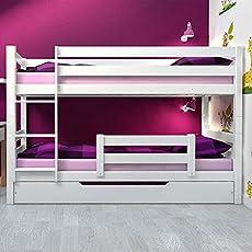 Etagenbett Stockbett Doppelstockbett RICKY inkl Bettkasten, Rausfallschutz und 3 x Roll-Lattenrost Buche Massiv Vollholz Weiß Robust und Stabil