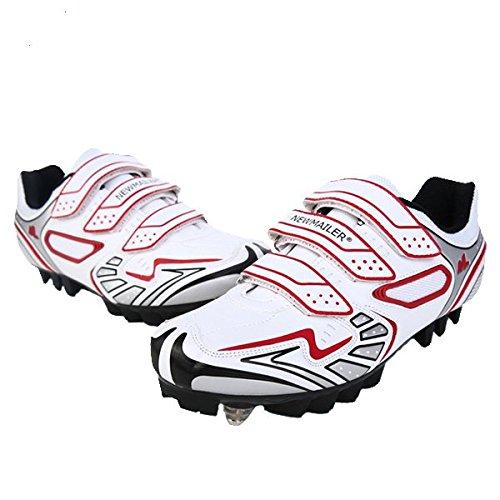 Cyclisme ƒquitation Chaussures de vŽlo de montagne VŽlo Sneaker Anti-Glissant whitei rouge