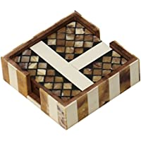 SouvNear Set of 4 Coasters - Handmade Brown Wooden Abstract