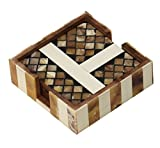 51yUCQHissL. SL160  UK BEST BUY #1SouvNear Set of 4 Coasters   Handmade Brown Wooden Abstract Art Patterned Square Coasters   Home / Bar / Dining Room Accessories price Reviews uk