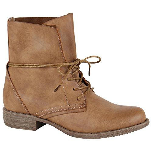 Stiefelparadies Damen Schnürstiefeletten Leicht Gefüttert Stiefeletten Profilsohle Schuhe 150249 Hellbraun Schnürung Autol 38 Flandell