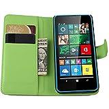 Tasche für Microsoft Lumia 640 Dual-SIM Hülle, Ycloud PU Ledertasche Flip Cover Wallet Case Handyhülle mit Stand Function Credit Card Slots Bookstyle Purse Design grün