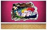 My Little Pony 3D-Wand-Aufkleber Wanddurchbruch-Design für Kinder-Schlafzimmer Vinyl, Small: 50cm x 36cm