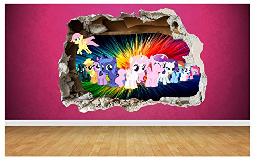 Price comparison product image Thorpe Signs My Little Pony 3D Style smashed wall sticker kids childrens bedroom vinyl art (Large: 80cm x 58cm)