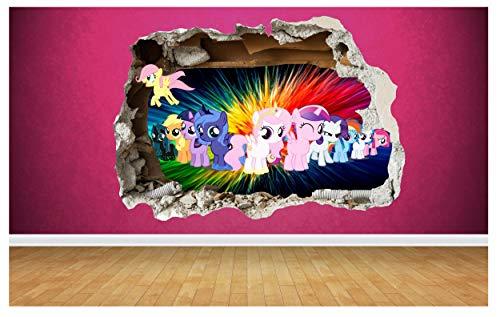 My Little Pony 3D-Wand-Aufkleber Wanddurchbruch-Design für Kinder-Schlafzimmer Vinyl, Large: 80cm x 58cm -