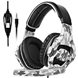 Sades SA810 3.5mm Multi-Platform Cuffie Gaming, Cuffie da Gioco Gaming Headsets Con Microfono Controllo del Volume Noise Cancelling Per Xbox uno/PS4/PC/Laptop/Mac/iPad/iPod(camuffamento)