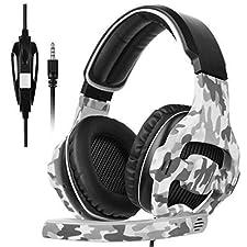 [Xbox One, PS4 Cuffie gaming] Sades SA810 Cuffie gaming per la nuova Xbox One, PS4 Controller, 3,5 mm cablata over-ear rumore isolante controllo del volume per Mac/PC/PS4/Xbox One/computer/telefoni (camouflage)