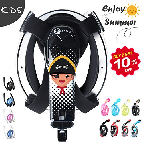 HENGBIRD Tauchmaske Vollgesichtsmaske mit Antibeschlag Antileckage Schnorchelmaske Tauchermaske für Kinder
