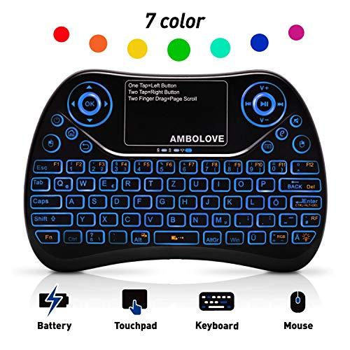 Wireless-mini Trackball Keyboard (AMBOLOVE Mini Tastatur Deutsches Tastatur-Layout (QWERTZ) Game Air Maus Keyboard mit Touchpad und Multimedia Tasten, 2.4Ghz USB wiederaufladbare Handheld USB Schnittstelle (MEHRWEG))