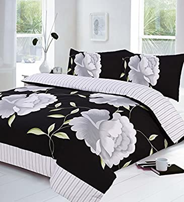 Black, White and Grey Super King Size Duvet Quilt Cover Bedding Bed Set Floral produced by . - quick delivery from UK.