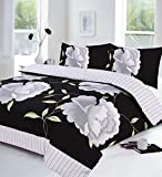 Black, White and Grey Super King Size Duvet Quilt Cover Bedding Bed Set Floral