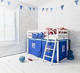 Junior-Hochbett, mittelhoch, aus Kiefer in Weiß, mit blauen Zeltvorhängen