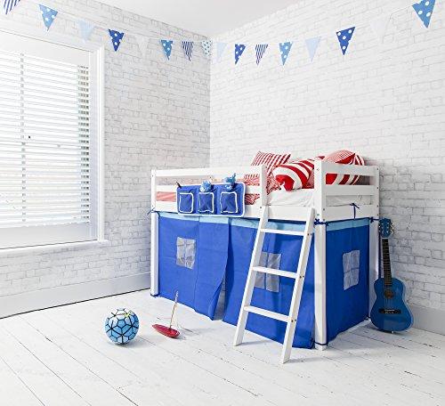 Junior-Hochbett, mittelhoch, aus Kiefer in Weiß, mit blauen Zeltvorhängen -