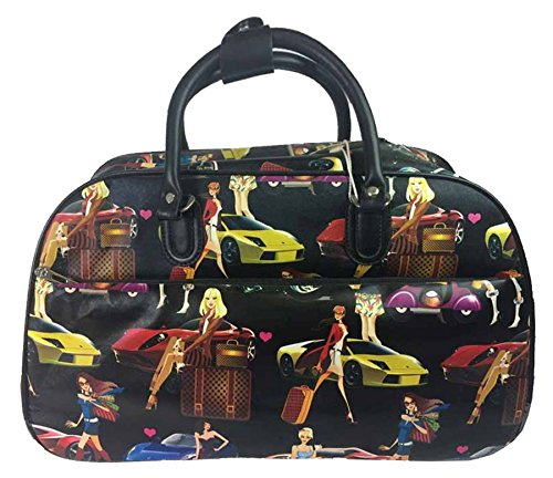 Big Handbag In volo Holiday Travel-Borsone per Weekend Borsa-Trolley bagaglio a mano Black - Girls Print