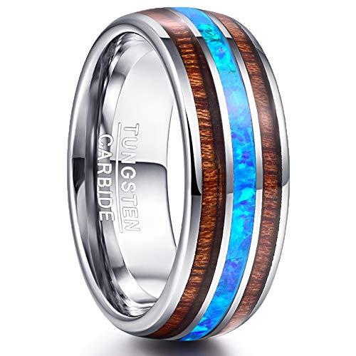 Nuncad Partner Ring 8mm Wolfram mit Opal Blau + Koa Holz Silber für Männer Damen Fashionable auf Hochzeit Verlobung Trauung Geschenk Größe 57 (17) (Männer-holz-ring)