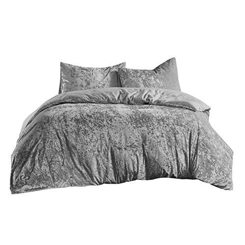 SCM Bettwäsche 200x200cm Grau Einfarbig Mikrofaser 3-teilig Bettbezug & Kissenbezüge 50x75cm Luxus Crushed Velvet Ideal für Winter
