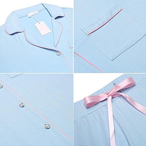 Busyall Damen Schlafanzug Pyjama set Zweiteiliger Hausanzug Hellblau