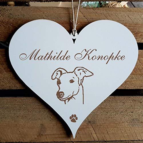 Schild Herz « Whippet Kopf » mit persönlicher Wunschgravur - Deko Dekoration Türschild Name - Hund Hunde Haustiere - Kleiner Englischer Windhund -