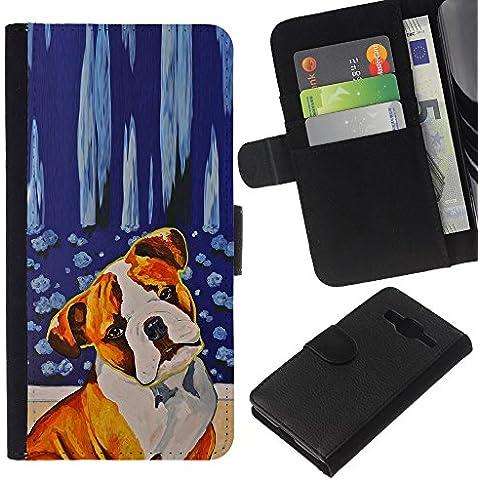 Red Fawn Boxer American Bull Terrier Dog - la tarjeta de Crédito Slots PU Funda de cuero Monedero caso cubierta de piel Samsung Galaxy Core Prime