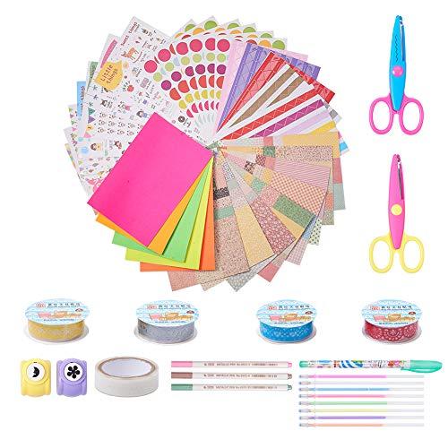 PandaHall Elite Sticker-Materialien für Album-Handwerk beschnitten, Foto Ecken, handwerkliche Locher-Kreide handwerklichen Deko-Wasser, Klebeband, Papier, Schere, spitze, gemischte Farbe, 20x 10mm