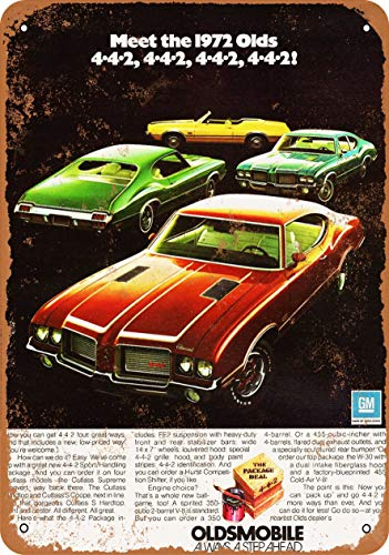 UKSILYHEART Iron Painting Signs Home Decor 7 X 10 Inches Metal Plaque 1972 Oldsmobile 4 4 2 Full Line Vintage Look -