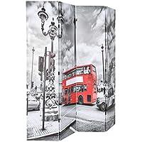 Festnight- Biombo Separador Plegable de Bus Londres 160x180 cm Blanco y Negro - Muebles de Dormitorio precios