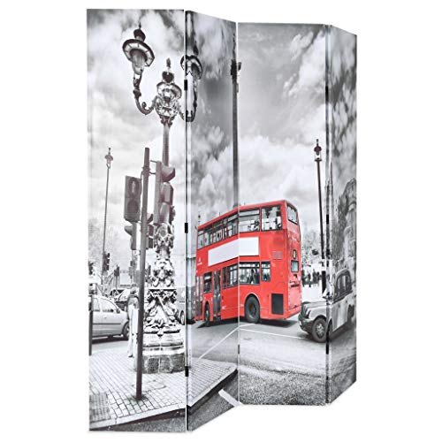 Festnight- Biombo Separador Plegable de Bus Londres 160x180 cm Blanco