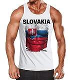 Herren Tanktop Tank Top - Fußball EM 2016 Slovakia Slowakei Flagge Fan Waschbrettbauch - MoonWorks® weiß XXL