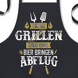 YORA Grillschürze für Männer - Bin am Grillen - Kochschürze als Geschenk für Männer lustig - Z Gold