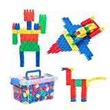 QCHOMEE 280PCS Jeu de Construction Puzzle Enfants Ensemble Blocs Briques de Construction Intelligence en Plastique DIY Jouet Educatif Précoce pour Filles Garçons 3-6 Ans Cadeau de Noël Anniversaire