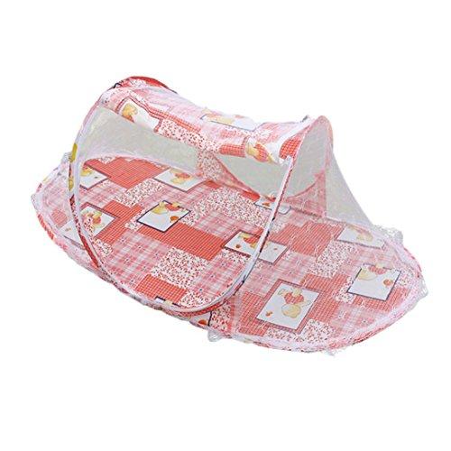 Clode® Sommer Baby Mosquito Mesh Net Krippe Kind tragbar für Reise, Babybett Falten Baby Krippe Moskitonetz (Rot) -