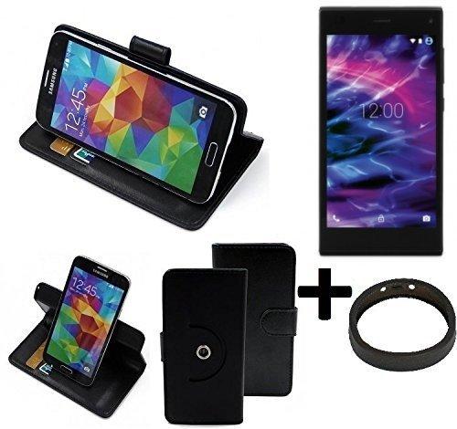 K-S-Trade® Hülle Schutzhülle Case für Medion Life P5005 + Bumper Handyhülle Flipcase Smartphone Cover Handy Schutz Tasche Walletcase schwarz (1x)