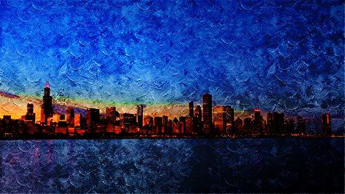 WAZHCY Malen Sie nach Zahlen Wohnkultur Chicago Skyline DIY Ölgemälde für Erwachsene Wandkunst Leinwand drucken 40X50CM Ohne Rahmen
