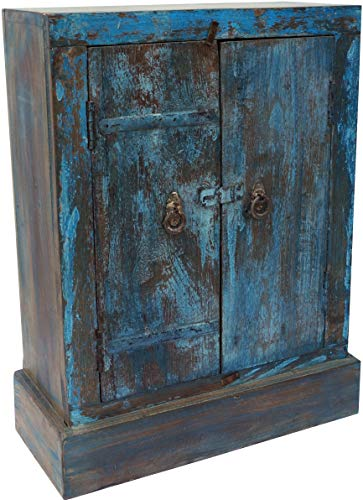 Guru-Shop Vieille Commode, Commode, Commode, Table de Chevet, Armoire de Couloir - Modèle 33, Turquoise, 69x54x23 cm, Petits Placards