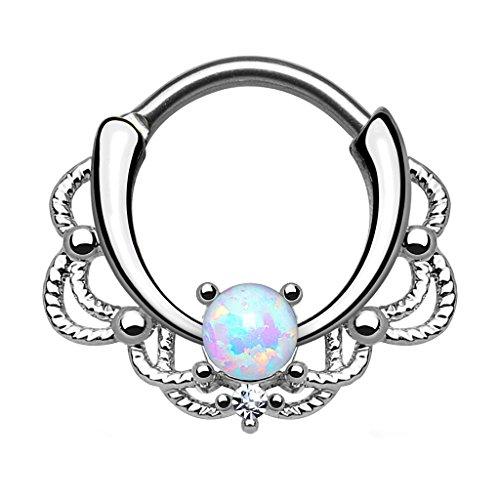 Piercingfaktor® Piercing Universal Clicker Schild Ring Septum Nasenpiercing Lippenpiercing Tragus Helix Ohr mit Opal Silber Weiß