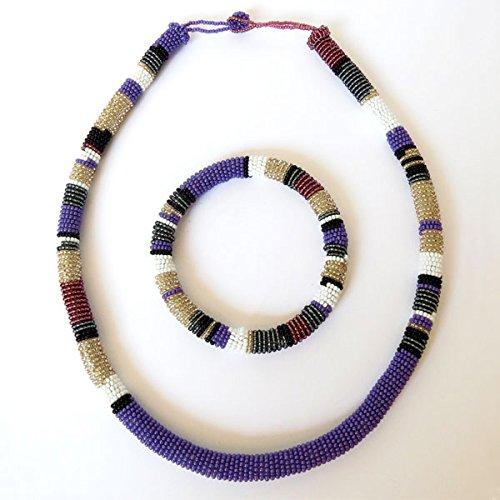 parure-collier-et-bracelet-en-perles-sud-africain-zoulou-violet-blanc-gris-fonce
