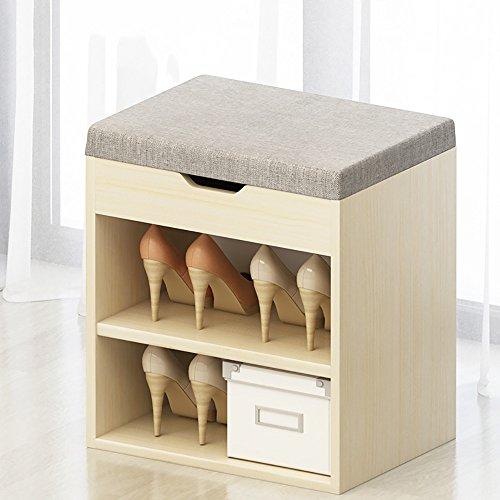 LJHA Tabouret pliable Repose-pieds simple en bois solide/tabouret de chaussure de tissu/armoire de chaussure/stockage tabouret/chaussure rack (40 * 45cm) chaise patchwork (Couleur : C)