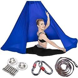JIALFA Aerial Hamaca de Yoga, Silk Yoga Swing para Yoga antigravedad, Ejercicios de inversión, Flexibilidad Mejorada y Resistencia del núcleo - Accesorios de Montaje incluidos (Azul Marino)