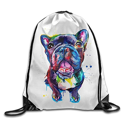 HLKPE Black French Bulldog Frenchie Art Drawstring Backpack Bag Folding Travel Tote School Rucksack (Craft Bag Tote)