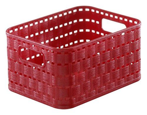 Rotho Country Aufbewahrungskorb in Rattan-Optik, Kunststoff (PP), rot, 2 Liter (18,3 x 13,7 x 9,8 cm) -
