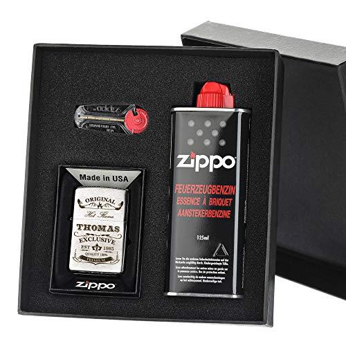 polar-effekt Zippo Geschenk-Set Sturmfeuerzeug mit Gravur - Personalisierte Benzin-Feuerzeug mit Geschenketui - Geburtstagsgeschenk für Männer - Motiv Original-Exclusive
