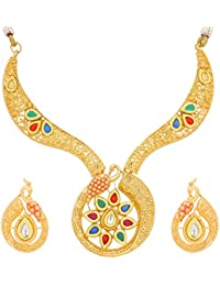 The Luxor Traditional Gold Plated Kundan Choker Necklace Maang Tikka Wedding Bridal Jewellery Sets For Women And...
