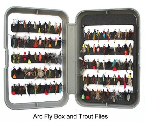 ARC Fliegenbox & Widerhakenlose Forellenfliegen UK – Trocknet Nässe & Nymphen auf Größen 10, 12, 14 oder gemischte Größen – in Mengen 25, 50 und 100, Hook Size 12 - Qty 100 Flies (Dry Fly Hook Barbless)