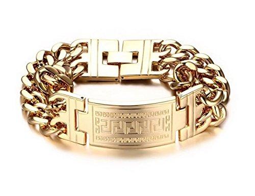 Für Männer Gold-armband Schwarz-und (Gudeke Herren The Great Wall Totem Edelstahl Doppel Panzerkette Armband Armbänder 9 Zoll, Gold, Silber, (Golden ))