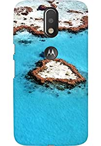 AMEZ designer printed 3d premium high quality back case cover for Moto G4 (Heart Reef Great Barrier Reef)