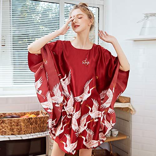 QHYQHY Weibliche Print Nachtwäsche Nachthemd Frauen Nachthemd Fledermaus Ärmel Plus Size Silky Casual Nachthemd Home Kleid -